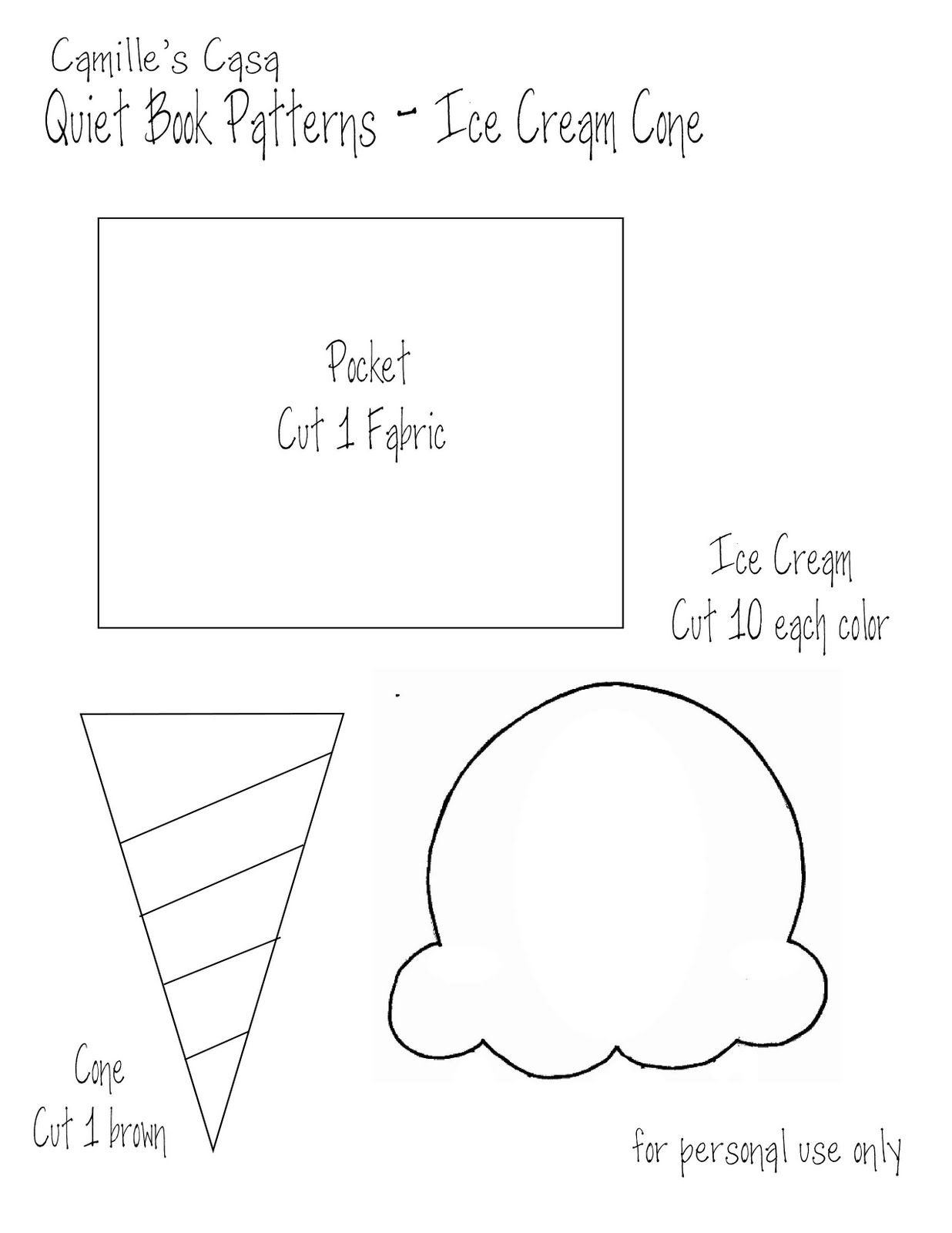 Camille s Casa Quiet Book Pattern and Printable Ice Cream