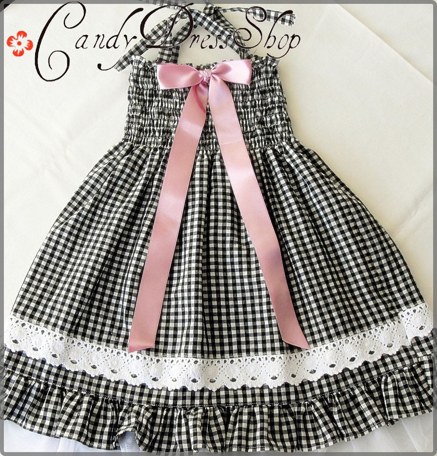 Black and white checkered dress for little girls Size 4T 5T