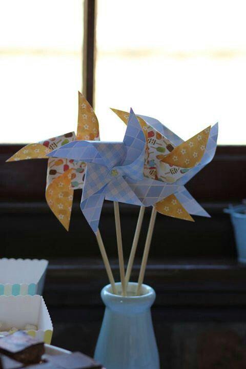 blue and yellow pinwheels