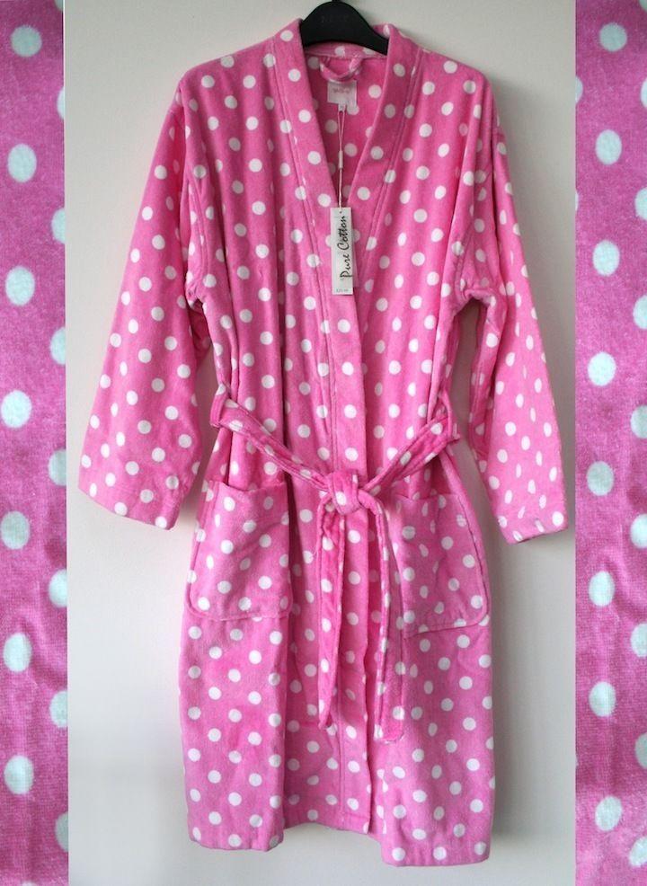 BNWT Ladies M&S Per Una DRESSING GOWN Robe Sz M Pink White spots ...