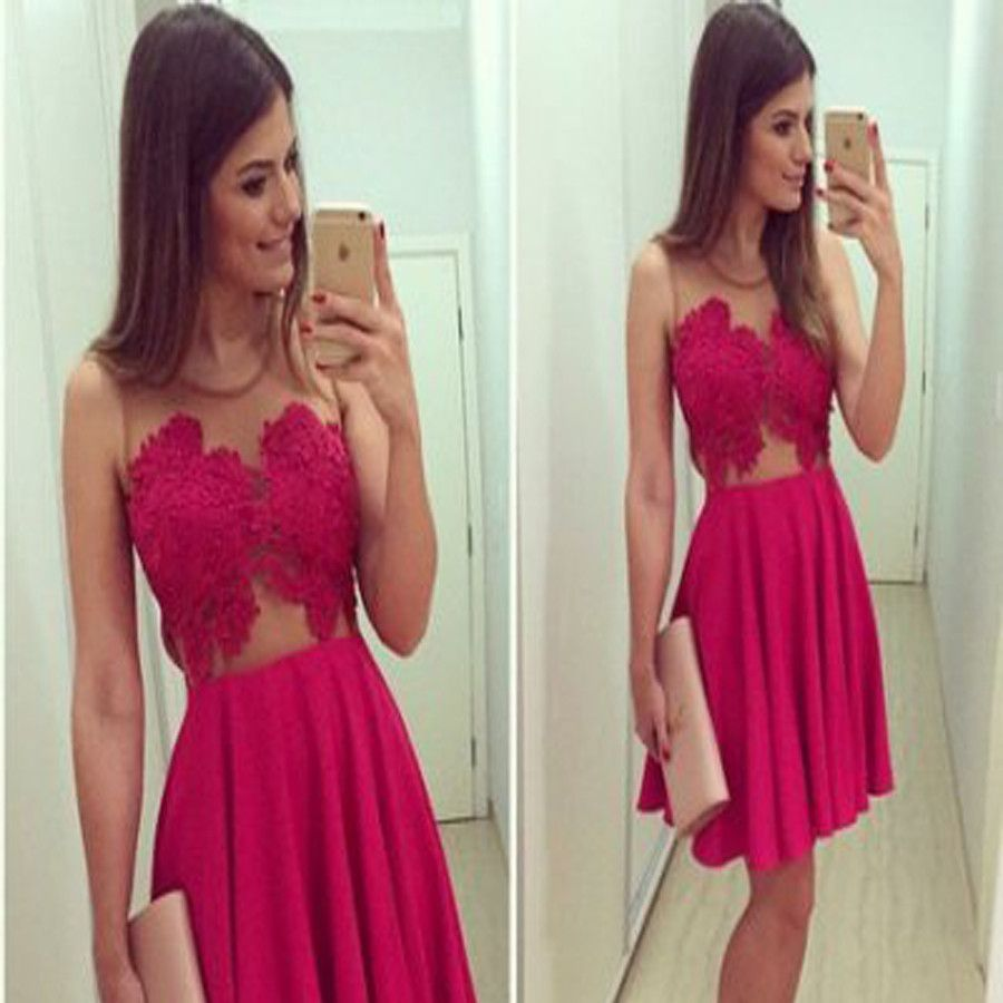 Red lace simple tight freshman for teens casual homecoming dresses