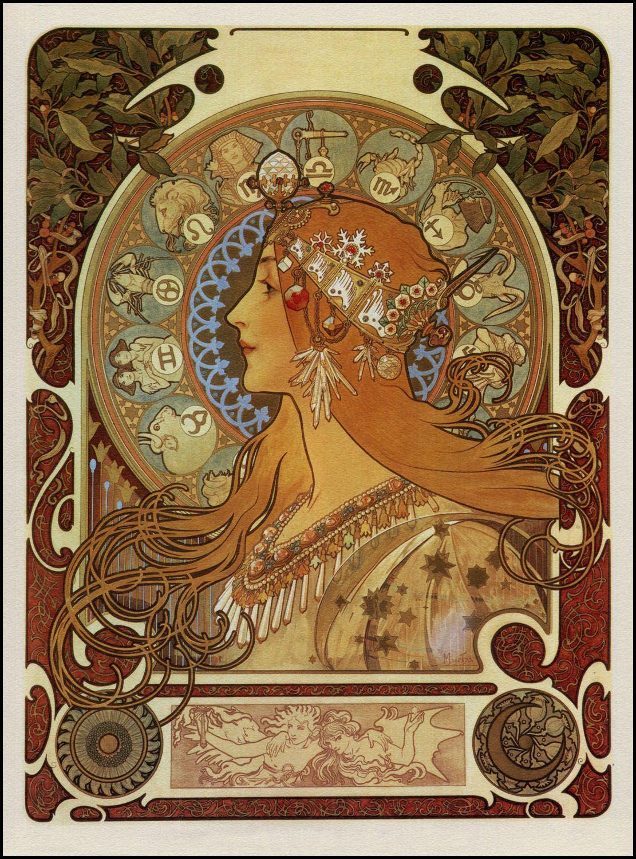 Alphonse Mucha Zodiac Giclee Art Paper Print Paintings Poster Reproduction