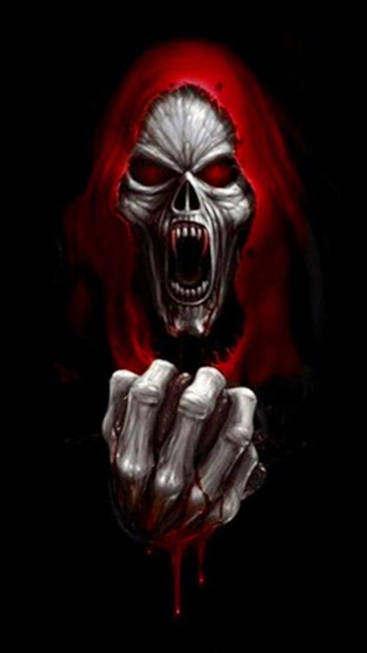 Red Eyed Grim Reaper Skull Artwork Skull Wallpaper Skull Pictures