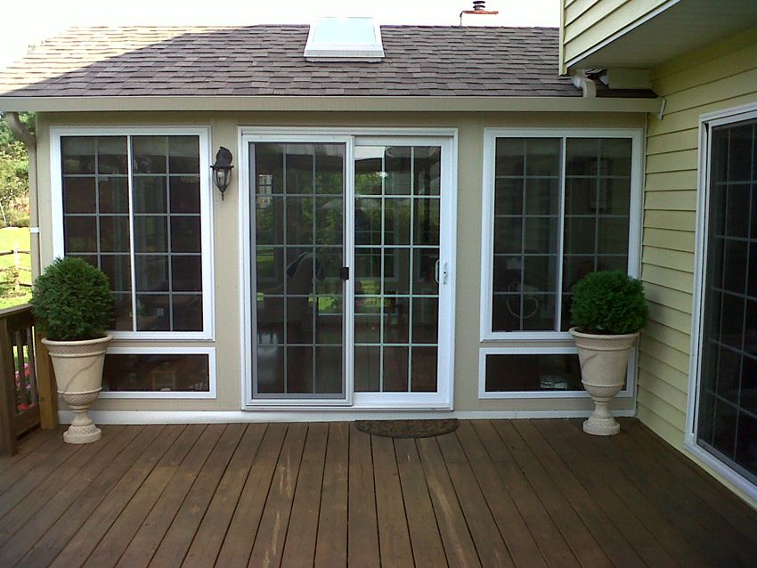High Quality French Style Sliding Glass Door. Porch Lights For Deck Area.