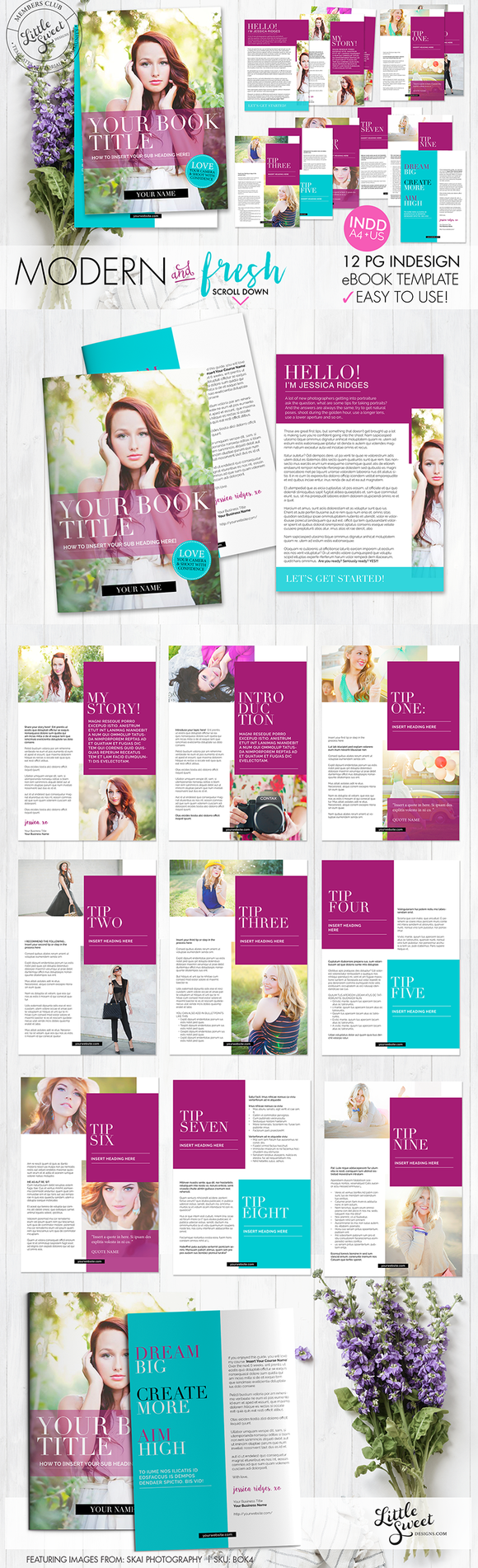 12 page eBook Template / INDD + PSD | Pinterest