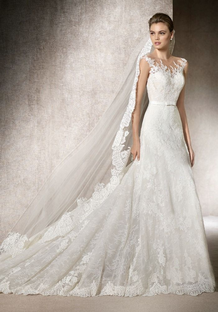 St Patrick Boat Neck A Line Wedding Dress Features Combination Of