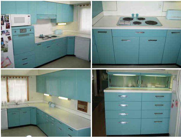 Blue Color Retro Metal Kitchen Cabinets Idea Picture