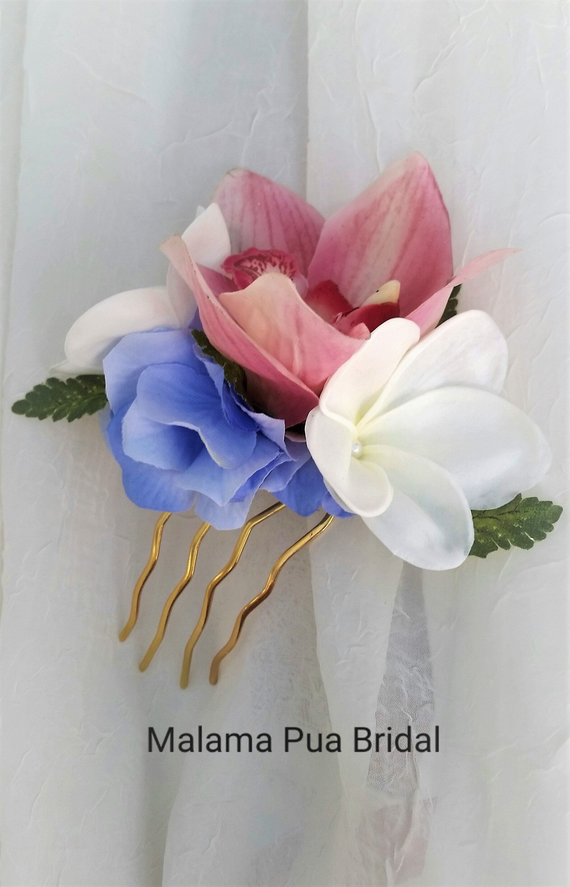 Tropical Flower Hair Comb Bridal Hair Accessory Real Touch