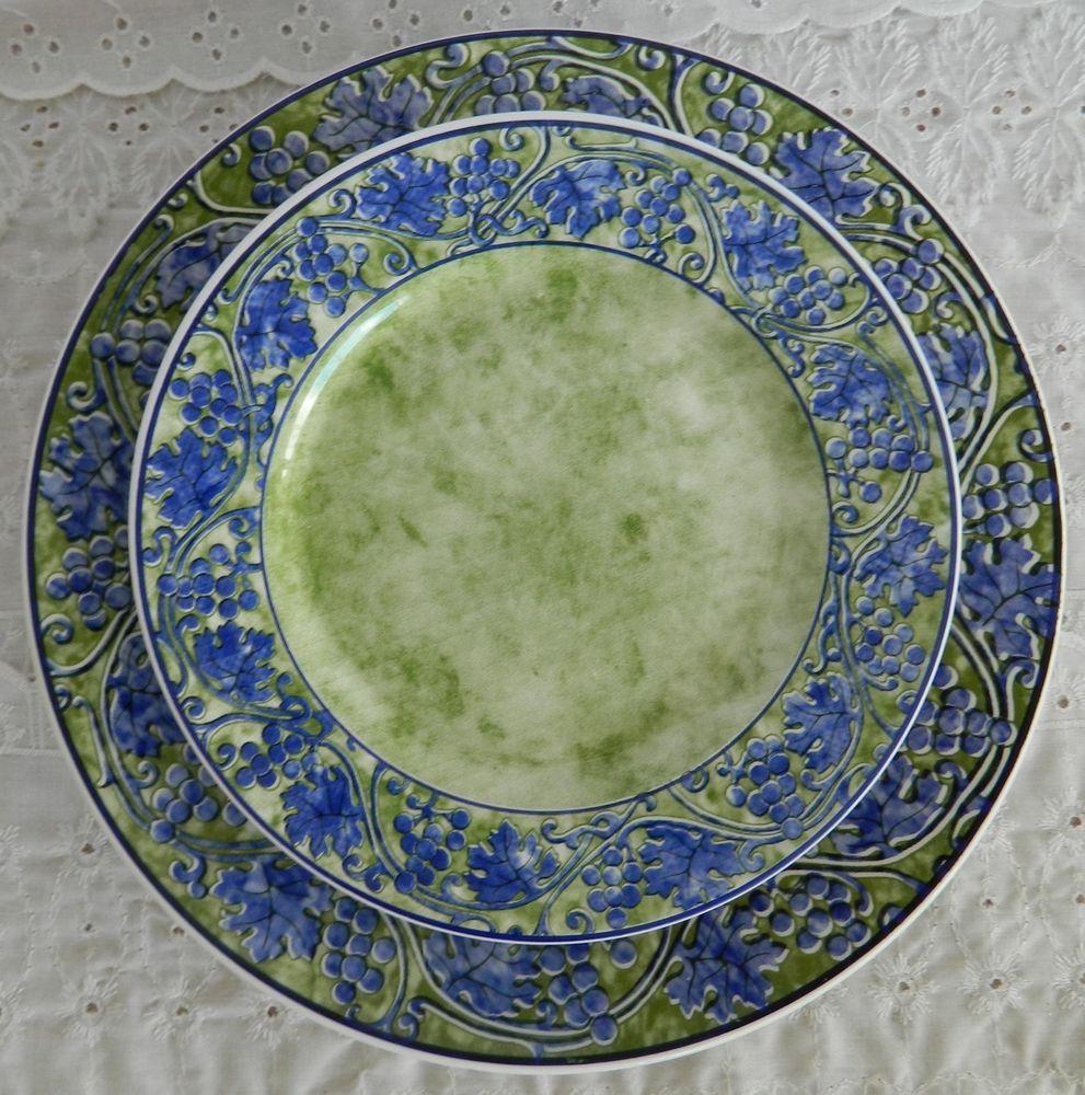 Ceramica Quadrifoglio Made in Italy Dinner & Salad Plates Gren Blue  #Quadrifoglio