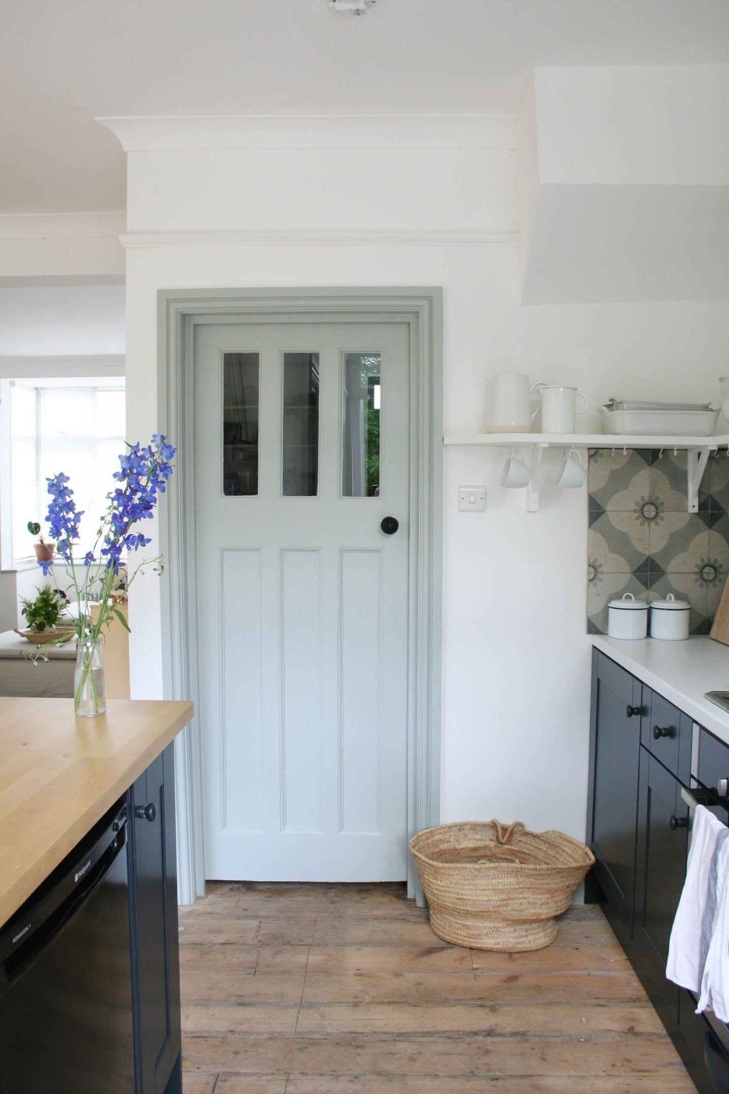 Photo of Original 1930s internal doors painted in Farrow & Ball Light Blue  Knocking down…