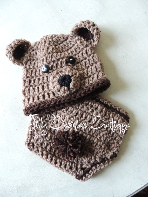 Infant Boy Bear Hat Diaper Cover Set Teddy By