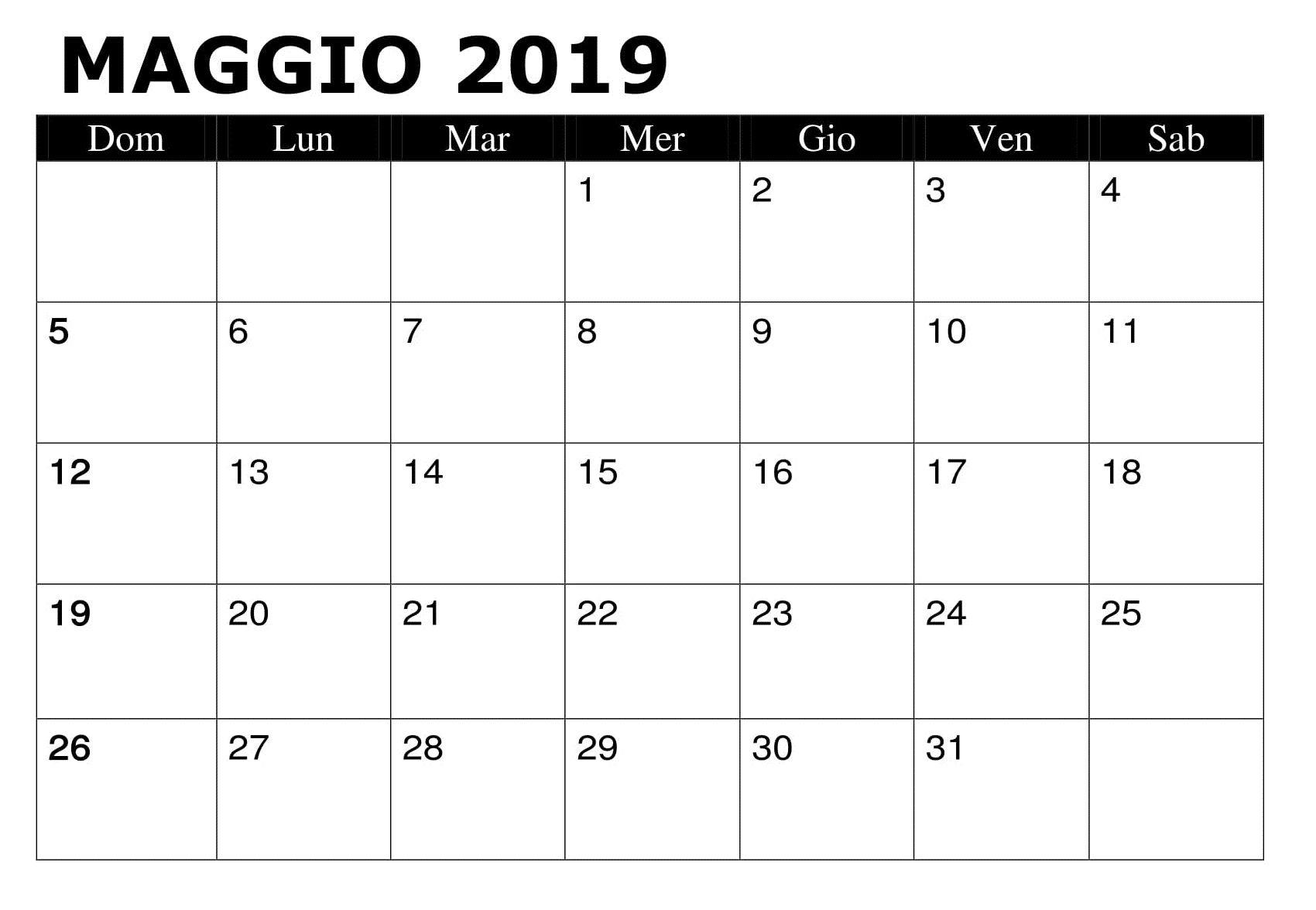 Modello Calendario Word.Mese Maggio 2019 Calendario Mensile Calendario Maggio 2019
