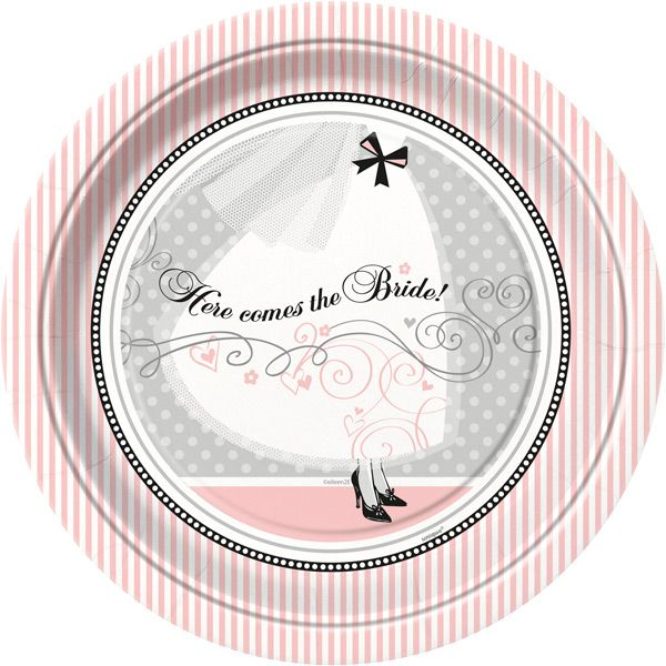 """Serve a memorable wedding meal in style. The Elegant Wedding Dinner Plates feature a graceful white wedding dress against a light grey and white polka-dot background. """"Here comes the Bride!"""" is printed in beautiful black script with a gorgeous silver swirl underline. The imagery is highlighted by an eye-catching white and pink striped border. The sturdy 9 inch plates are great for wedding receptions, anniversary parties, or bridal showers.  Paper plates are sold in quantities of 8 per ..."""