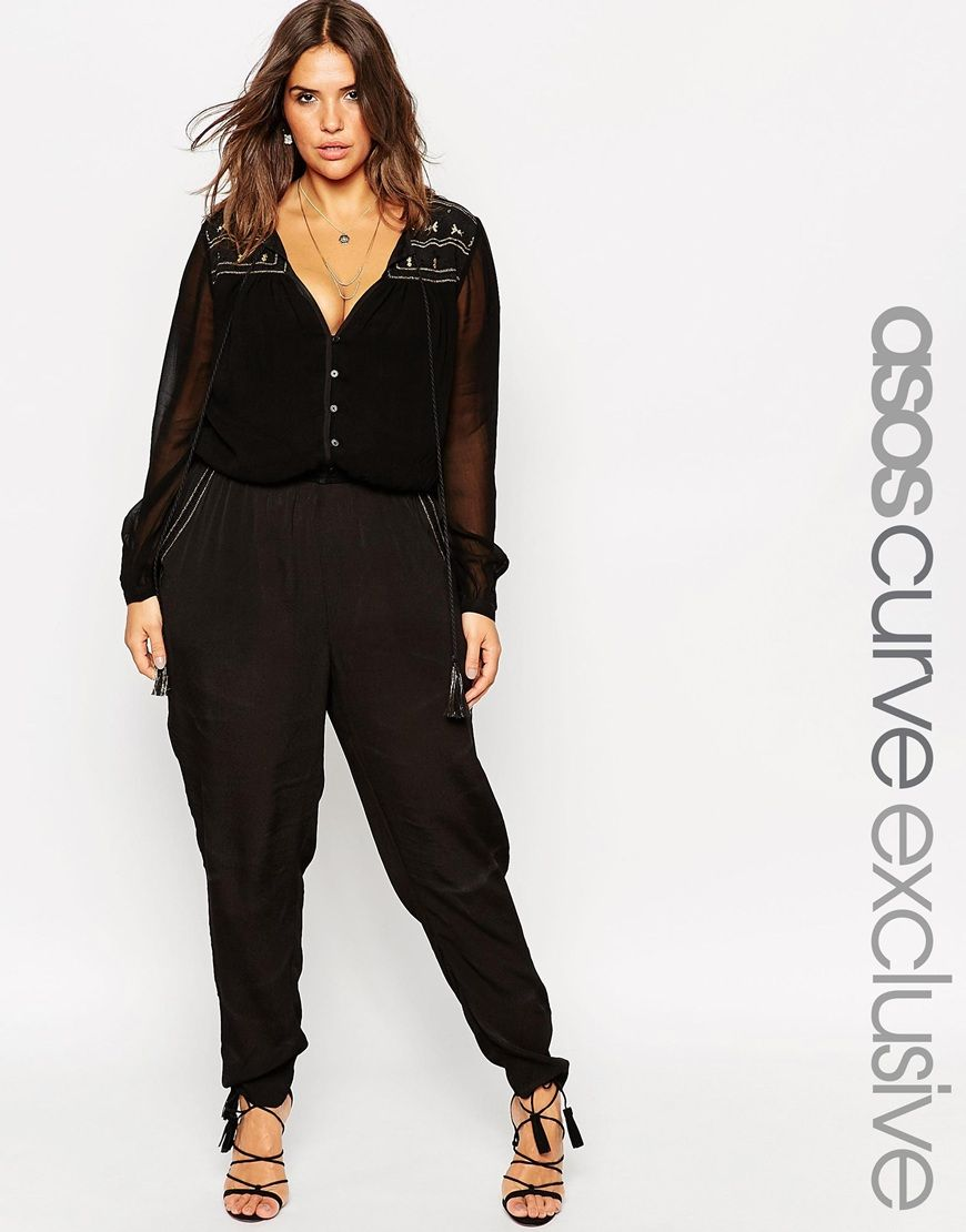 curve button through jumpsuit with embroidery plus size fashion asos jumpsuit damen und. Black Bedroom Furniture Sets. Home Design Ideas