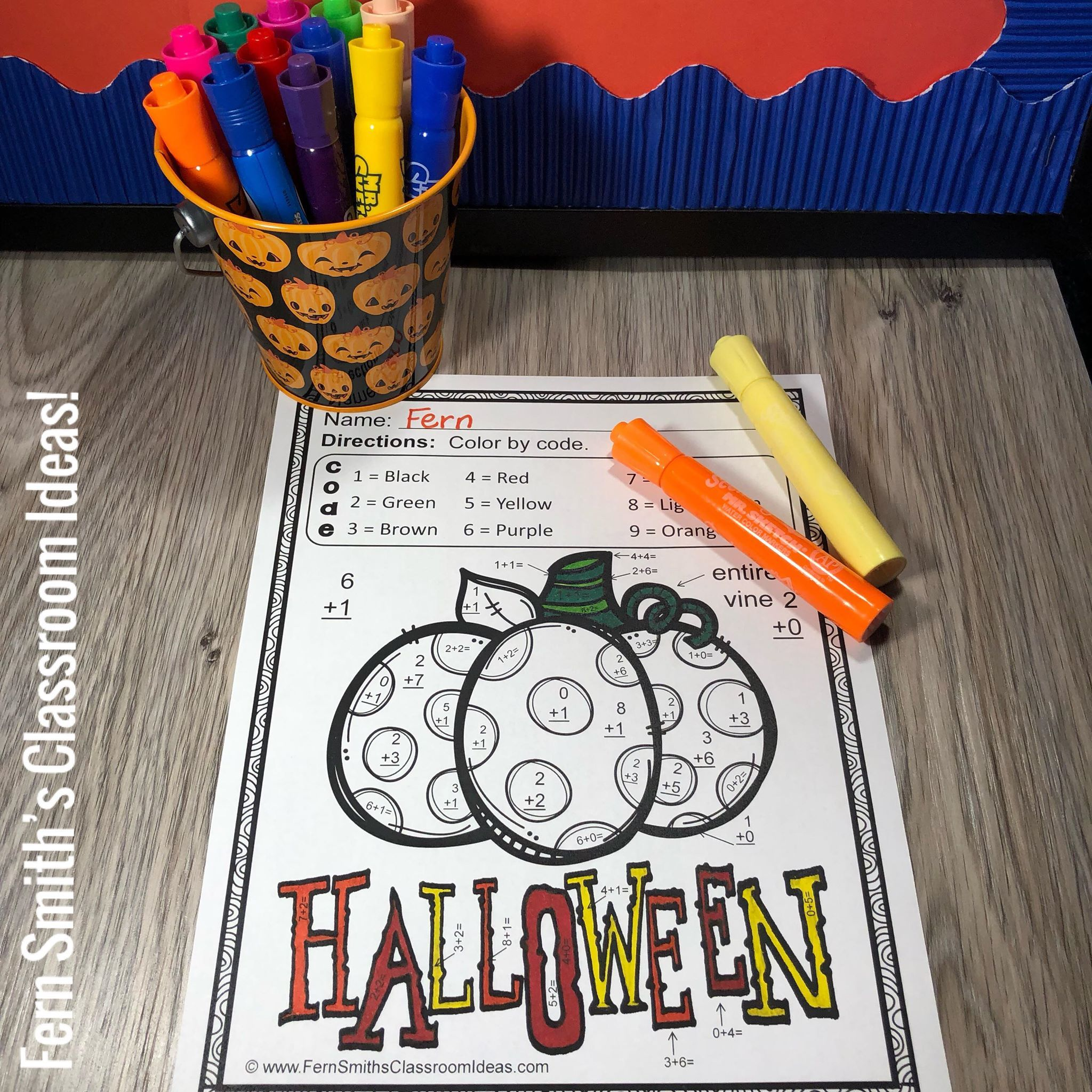 Halloween Color By Number Addition And Subtraction Bundle
