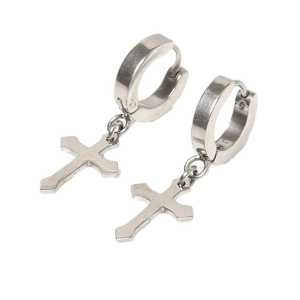 1cd49913e03b Titanium Classic Cross   Hoop Dangle Earrings