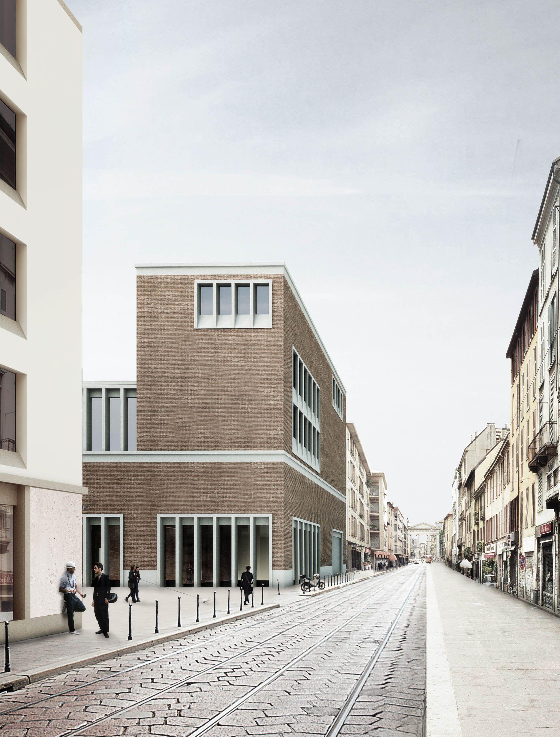1st Prize Offentliche Bauten Blick Aus Der Strasse Corso Di Porta Ticinese Architektur Zeichnungen Architektur Visualisierung Architektur