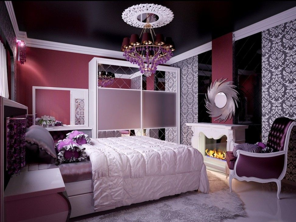 Amazing Teenage Girls Room Color Idea with White Bed, Dark