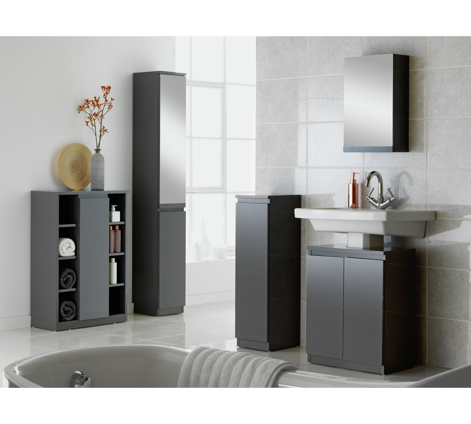 Buy Hygena Gloss Mirrored Tall Bathroom Storage Cabinet Grey At Argos Co Uk Visit Argos Tall Bathroom Storage Grey Bathroom Furniture Grey Bathroom Cabinets