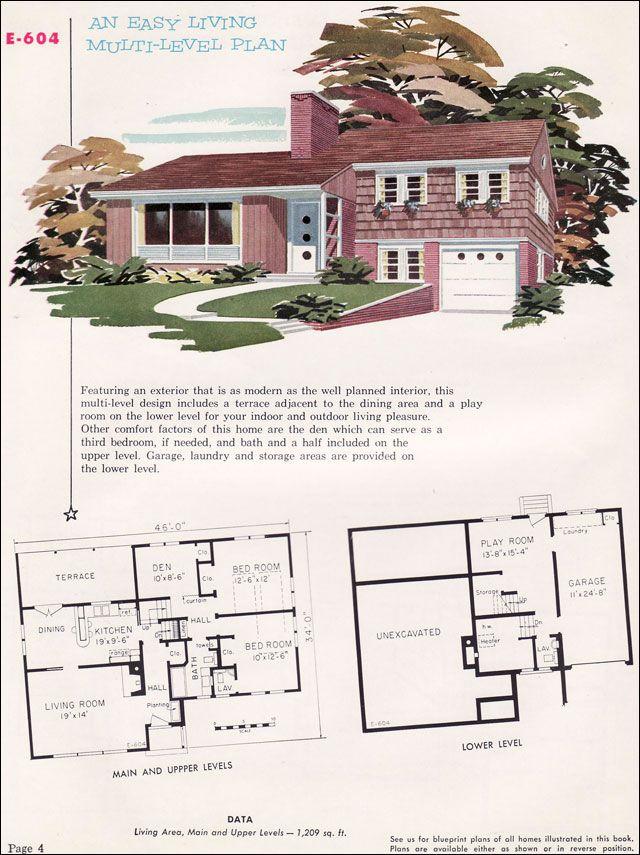 Mid Century Split So Similar To My Aunt Nan S House Residential Architecture Plan Split Level House Plans Vintage House Plans