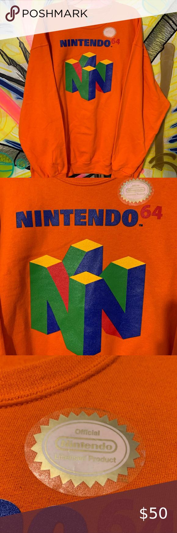Nwt Nintendo 64 N64 Logo Graphic Crewneck Sz Xxl Logo Graphic Nintendo Shirt Orange Fabric