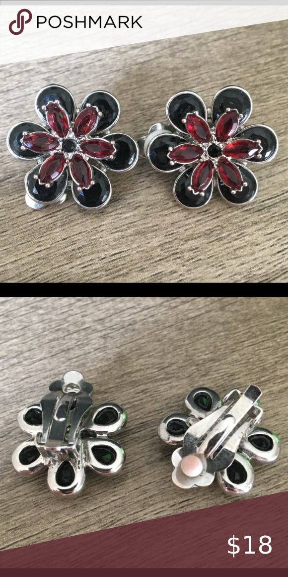 Vintage flower earrings with crystals clip on for women
