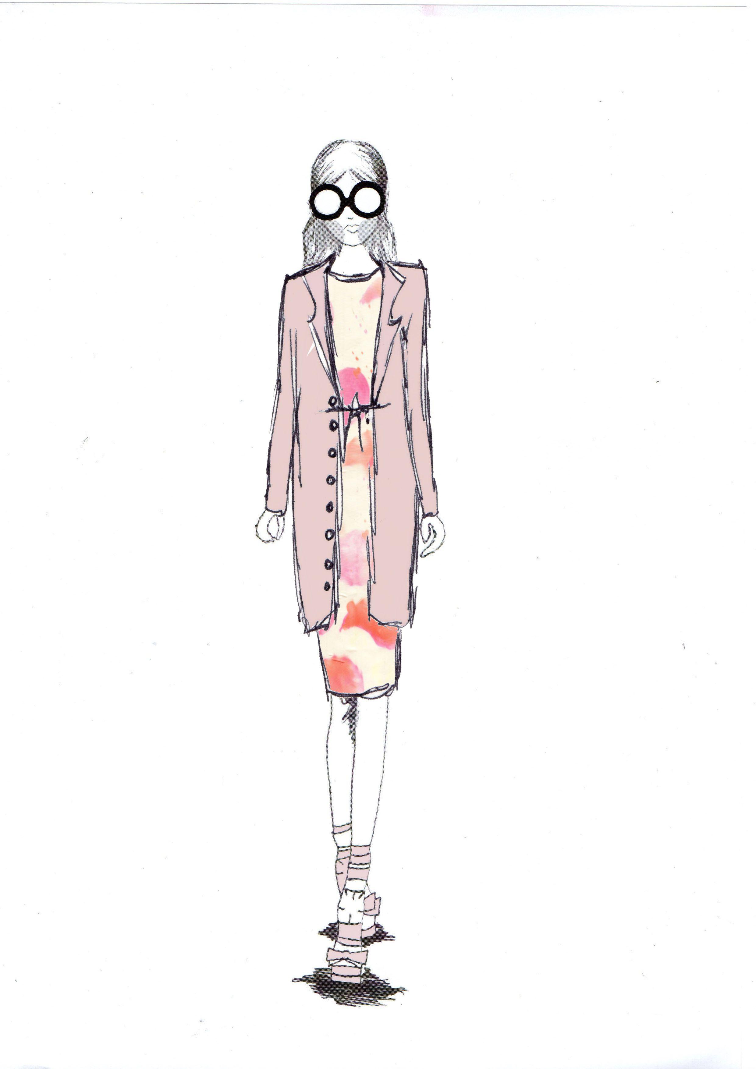 Fashion illustration for portfolio. By Sarah Davies.