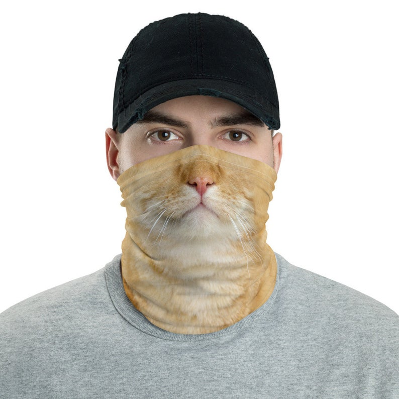 Orange Cat Neck Gaiter Funny Cat Face Mask Cat Costume Face Etsy Funny Cat Faces Orange Cat Cute Cat Costumes