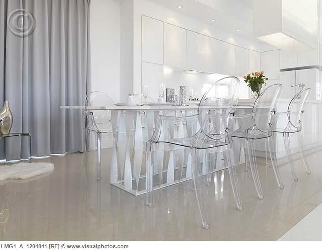 Captivating Low Angle Modern Dining Table With Clear Plastic Chairs   Love This In A  Room With