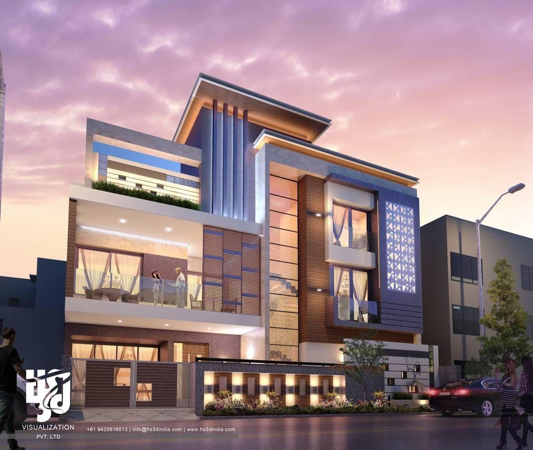 Modern Residential Exterior By Ar Sagar Morkhade: #MODERNBUNGALOW #exteriordesigns #3DRENDER #nightview BY