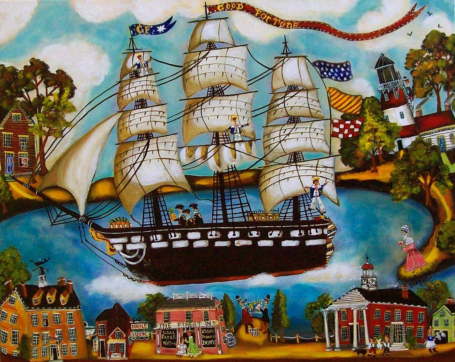 American Folk Art Seascape painted by artist Sharon Eyres