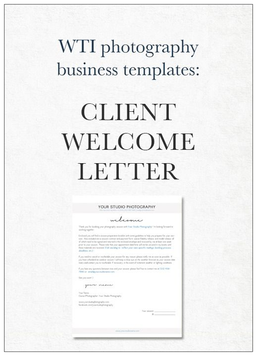 Image of Photography Client Welcome Letter Template Business Tips