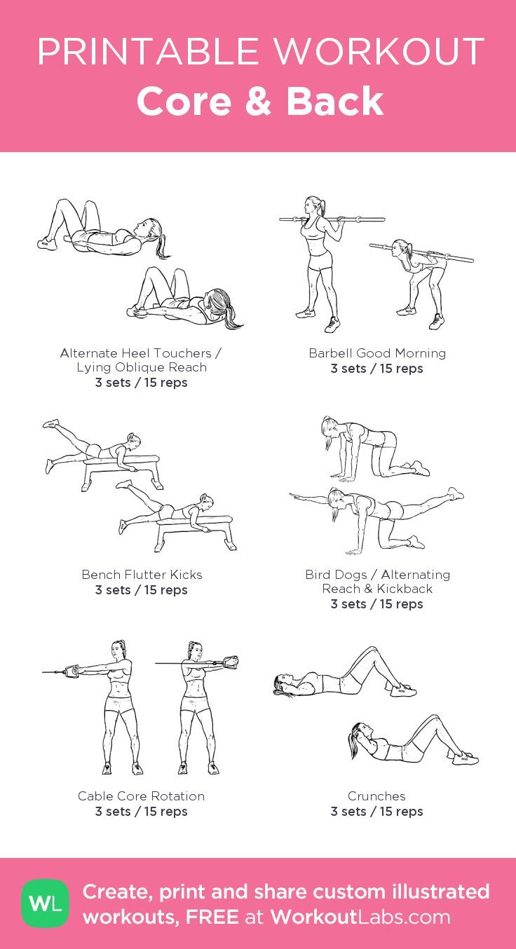 Core & Back –my custom workout created at WorkoutLabs.com • Click through to download as pri... #strengtheningexercises