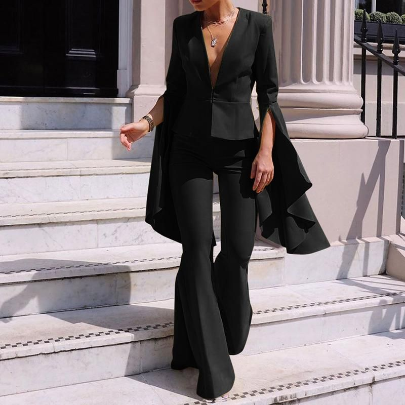 2 Piece Outfits for Women Long Sleeve Solid Color Blazer with Pants Casual Elegant Business Suit Sets