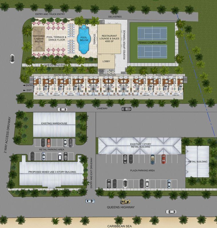 2d Colour Site Plan For A Development Project Cayman Islands Mb