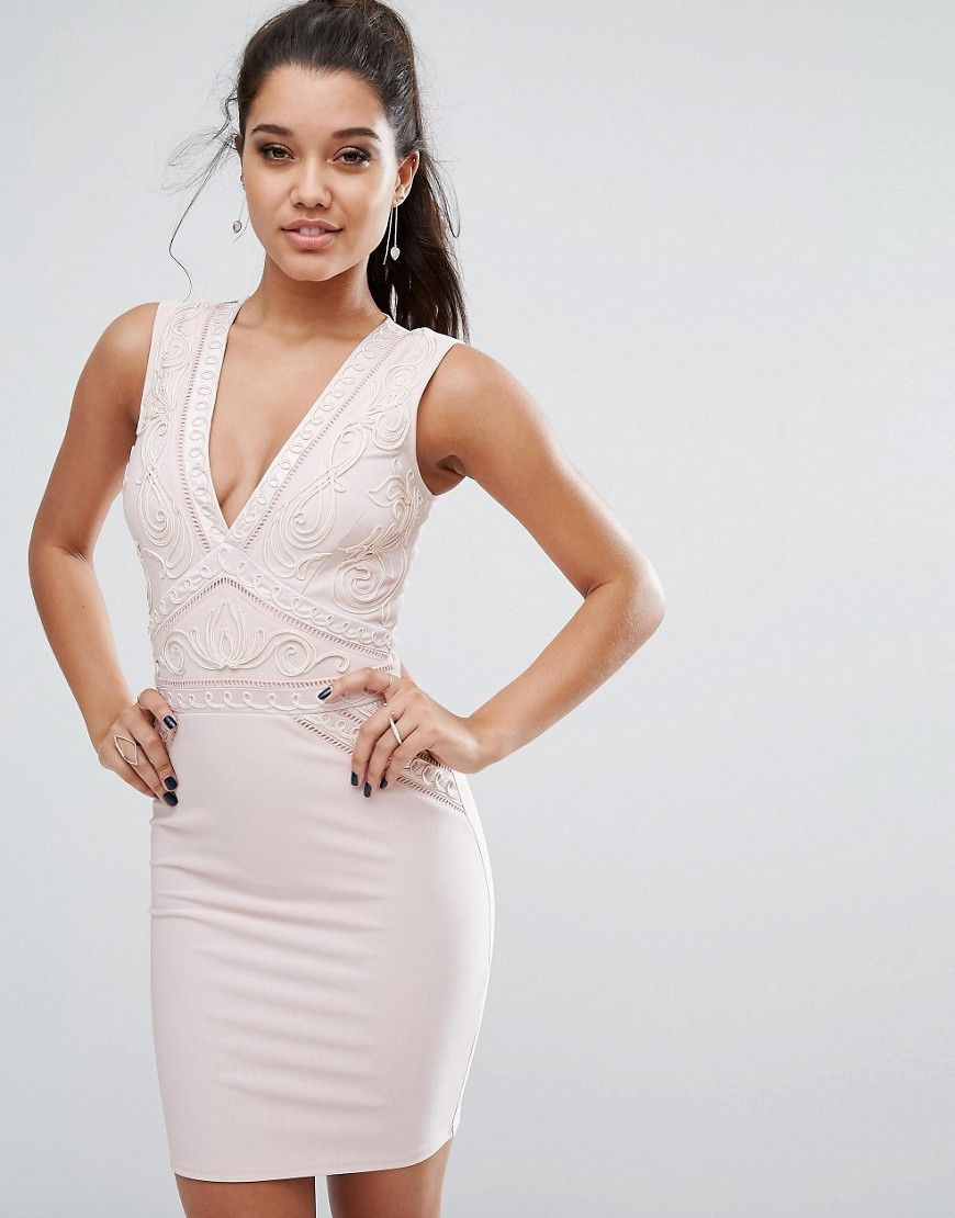 Lipsy plunge bodycon dress with cornelli trim pink products