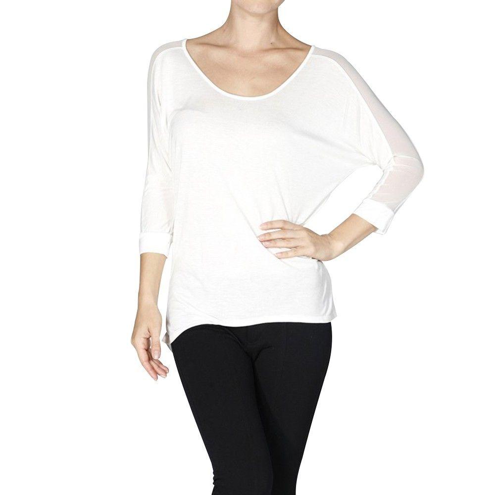 Blusa feminina larga com mangas 3/4 e transparência nas costas - Active Basic