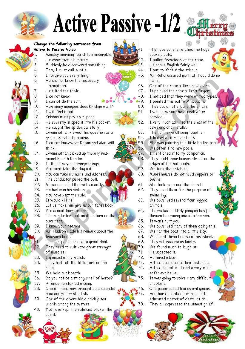 78 sentences to convert from ACTIVE to PASSIVE voice to