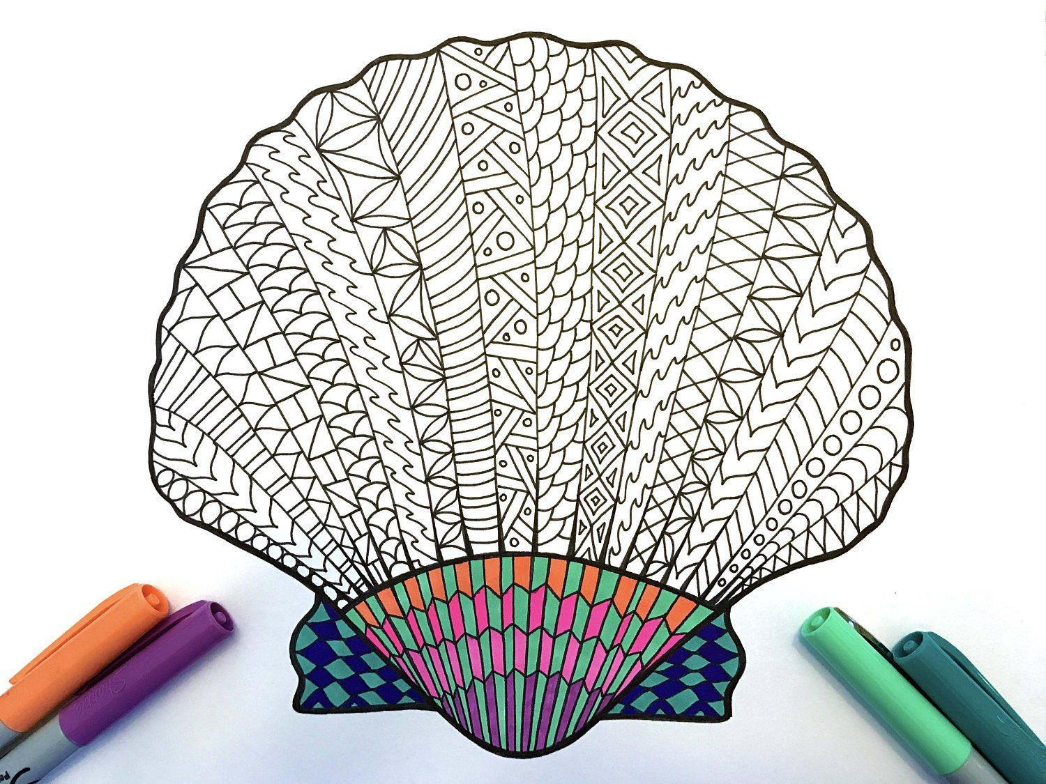 Clam Shell Pdf Zentangle Coloring Page Scribble Stitch Color Pencil Drawing Coloring Pages Zentangle Designs