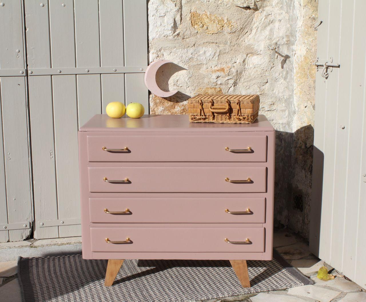 Commode Vintage Vieux Rose Meuble Vintage Mobilier De Salon Commode Vintage