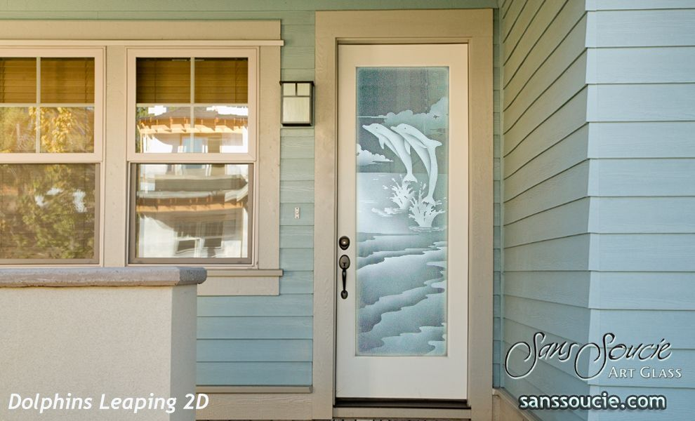 Etched Glass Exterior Doors Beach Coastal Decor Dolphins Leaping