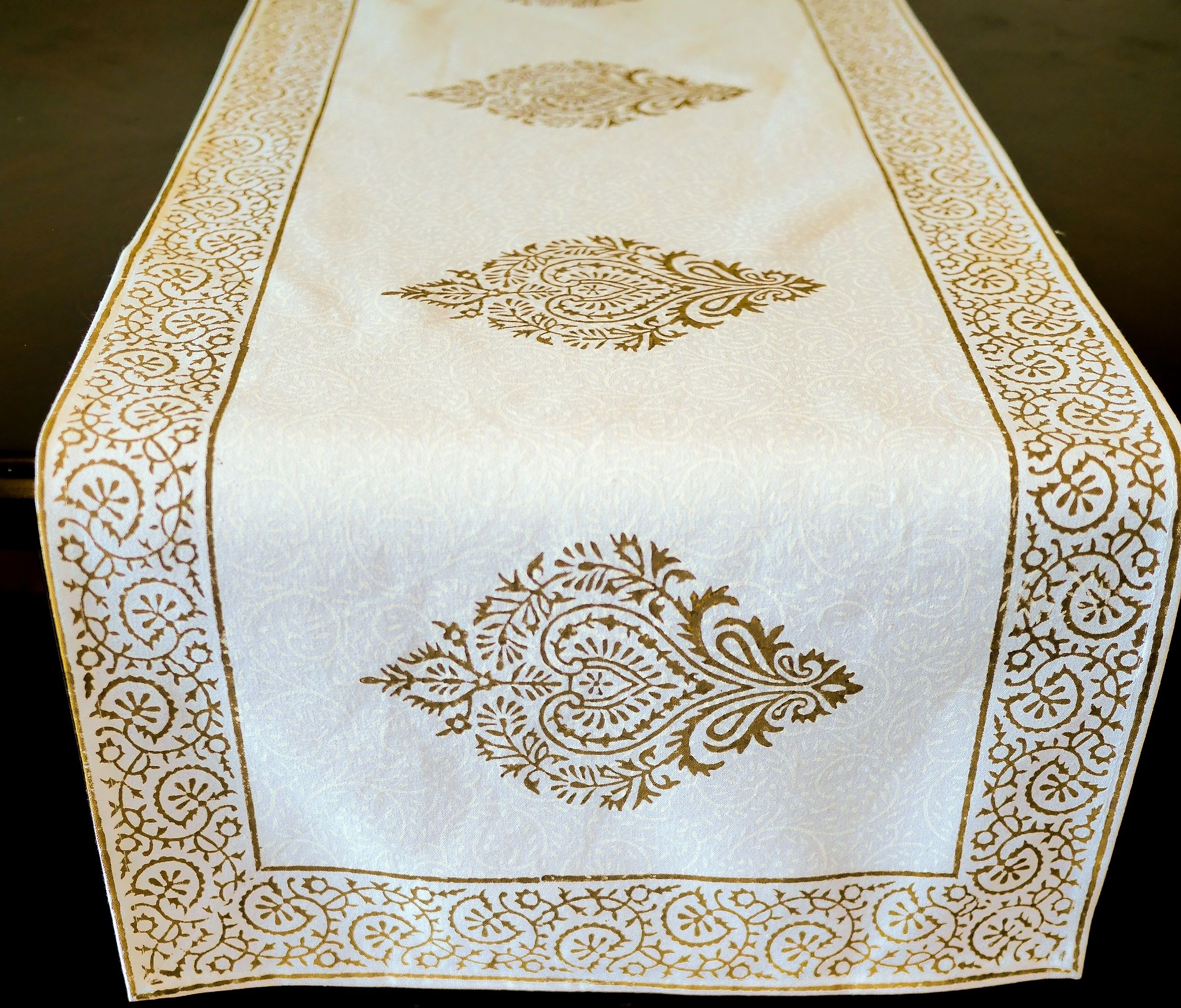 f white Gold Hand block printed organic cotton table runner