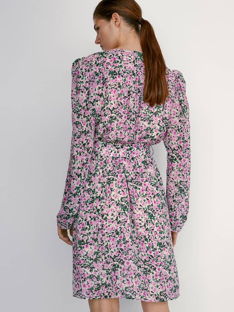 Dress With Printed Flowers Women Massimo Dutti Dresses Elegant Outfit Long Sleeve Dress