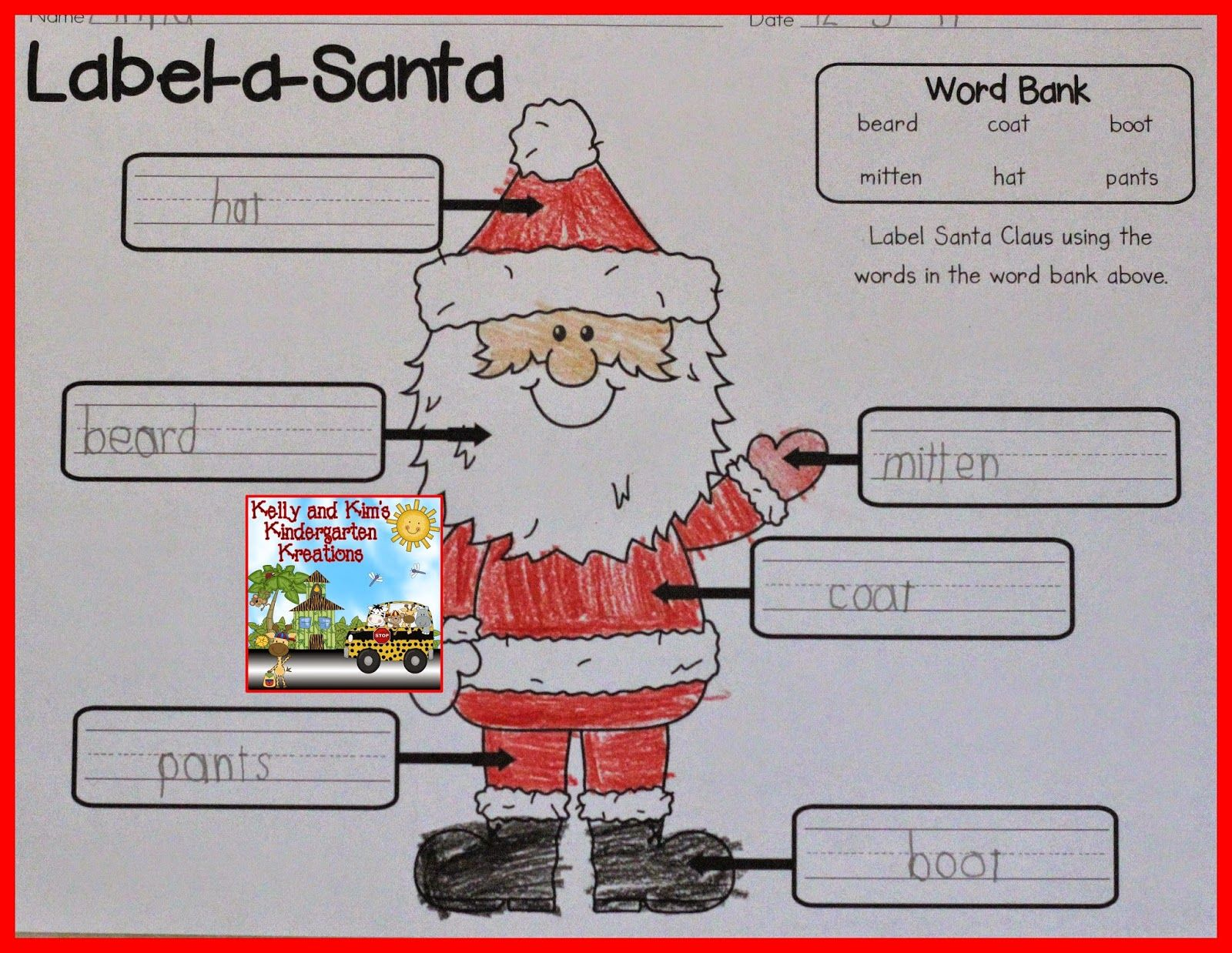 Labeling Parts Of Santa Eat Practice For Beginning