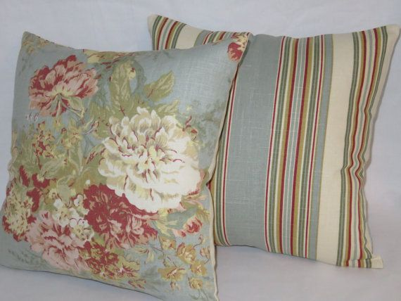 Waverlly Red and Beige  Stripe Pillow