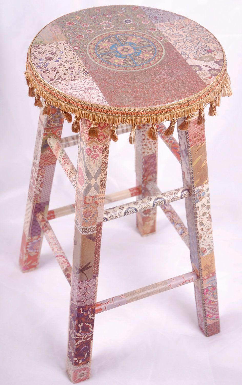 Brilliant Decoupage Stool Love This In 2019 Wooden Stools Painted Cjindustries Chair Design For Home Cjindustriesco