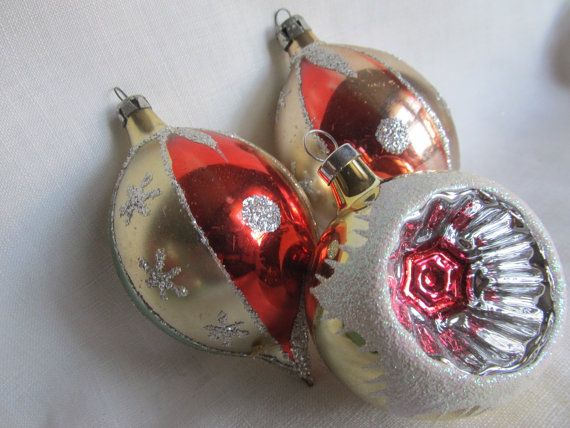 Set of 3 Vintage Hand Decorated Silver Mica Mercury Glass Indent Teardrop Christmas Ornaments Christmas indent ornaments