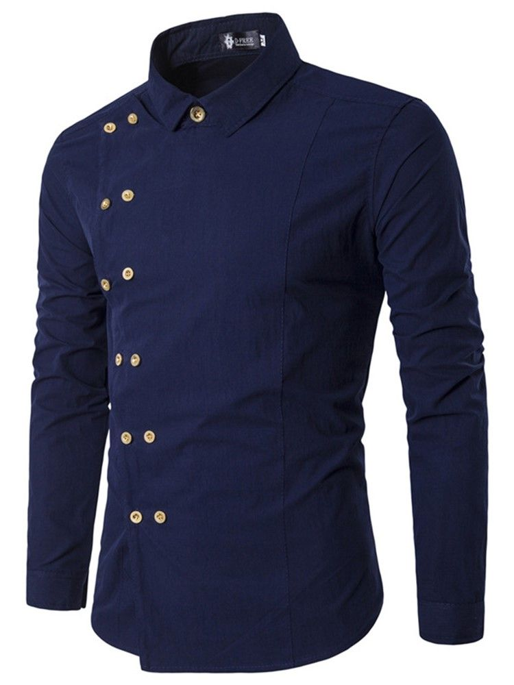 a992cb59cdf Asymmetric Plain Lapel Slim Fall Shirt. Asymmetric Plain Lapel Slim Fall  Shirt Casual Shirts