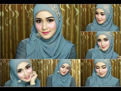 4 tutorial hijab segi empat paris rawis wisuda pesta kondangan.