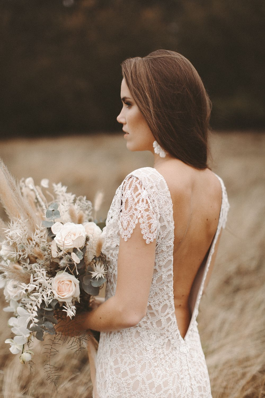 Boho Brautkleid Vintage Hochzeitskleid Spitze ...